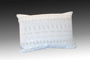 white beaded pillow